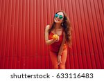 girl photographed with fruit... | Shutterstock . vector #633116483