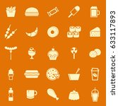fast food color icons on orange ... | Shutterstock .eps vector #633117893