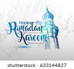 ramadan calligraphy vector with ... | Shutterstock .eps vector #633144827