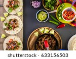 pulled pork carnitas with pico... | Shutterstock . vector #633156503
