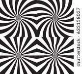 black and white psychedelic... | Shutterstock .eps vector #633158027
