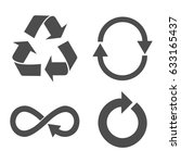 pointer  arrow  recycle signs.... | Shutterstock .eps vector #633165437