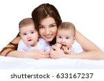 beautiful happy mother playing... | Shutterstock . vector #633167237