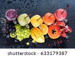 fresh color juices smoothie... | Shutterstock . vector #633179387