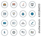 trade colorful outline icons... | Shutterstock .eps vector #633186053