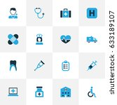 antibiotic colorful icons set.... | Shutterstock .eps vector #633189107