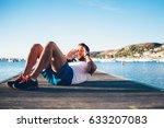fit sportsmen bending and doing ... | Shutterstock . vector #633207083