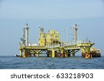the offshore oil rig in the...   Shutterstock . vector #633218903