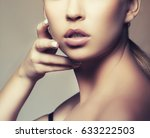 part of face with lips  neck... | Shutterstock . vector #633222503
