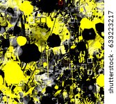 yellow and black. chaotic... | Shutterstock .eps vector #633223217