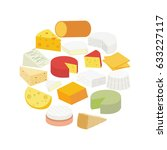 cheese. brie  blue  roquefort ...   Shutterstock .eps vector #633227117