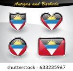 glossy antigua and barbuda flag ... | Shutterstock .eps vector #633235967