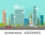 city buildings along street... | Shutterstock . vector #633254453