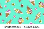 vector hand drawn ice cream... | Shutterstock .eps vector #633261323