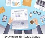 businessman reading a newspaper ... | Shutterstock .eps vector #633266027