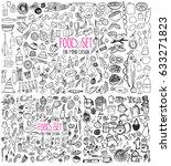hand drawn food elements. set... | Shutterstock .eps vector #633271823