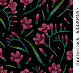 embroidery seamless floral... | Shutterstock .eps vector #633304097