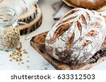 artisan sourdough bread with...   Shutterstock . vector #633312503