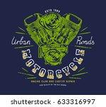 racing club emblem for t shirt. ... | Shutterstock .eps vector #633316997