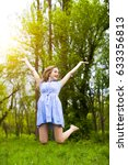happy woman jumping with her... | Shutterstock . vector #633356813