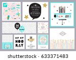 set of birthday cards | Shutterstock .eps vector #633371483
