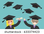 happy graduates throwing their... | Shutterstock .eps vector #633374423