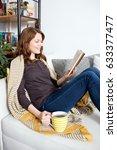 beautiful young woman relaxing... | Shutterstock . vector #633377477