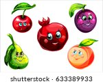 funny fruit face and cartoon... | Shutterstock .eps vector #633389933