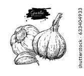 garlic hand drawn vector...   Shutterstock .eps vector #633404933