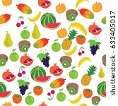 seamless fruits pattern on... | Shutterstock .eps vector #633405017