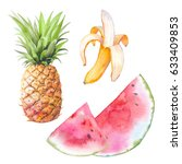watercolor exotic fruit set.... | Shutterstock . vector #633409853