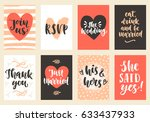 wedding invitations cards set.... | Shutterstock .eps vector #633437933