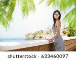 summer vacation. beautiful girl ... | Shutterstock . vector #633460097