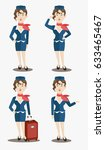 cute stewardess characters set | Shutterstock .eps vector #633465467