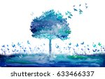 watercolor nature tree and... | Shutterstock . vector #633466337