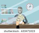 bank teller behind window. hand ... | Shutterstock .eps vector #633471023