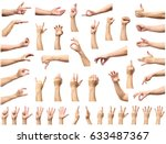 multiple male caucasian hand... | Shutterstock . vector #633487367