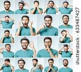 set of handsome emotional man... | Shutterstock . vector #633487427