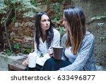 young girlfriends talk about... | Shutterstock . vector #633496877