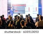 audience listens to the speech... | Shutterstock . vector #633513053