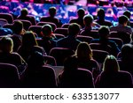 audience listens to the speech... | Shutterstock . vector #633513077