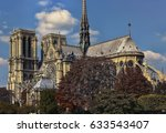 notre dame cathedral in paris | Shutterstock . vector #633543407