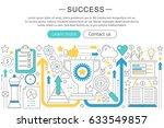 elegant thin flat line success ...   Shutterstock . vector #633549857
