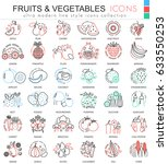fruits and vegetables color... | Shutterstock . vector #633550253
