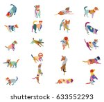 Stock vector set vector mosaic silhouettes of colorful dogs jack russel terrier cut out on white background 633552293