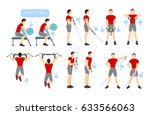 arms workout set on white... | Shutterstock . vector #633566063