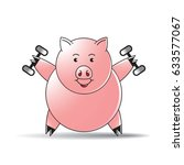 color cartoon pig lifting... | Shutterstock .eps vector #633577067