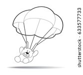 cartoon bear landing with his... | Shutterstock .eps vector #633577733