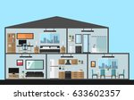 modern house in cut  flat style ... | Shutterstock .eps vector #633602357