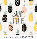 vector summer pattern with... | Shutterstock .eps vector #633602597